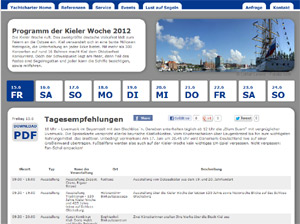 Übersichtlicher Veranstaltungsplan zur Kieler Woche 2012